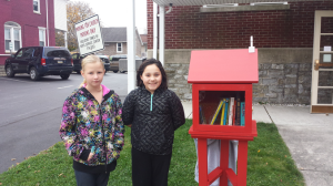 girls at little library