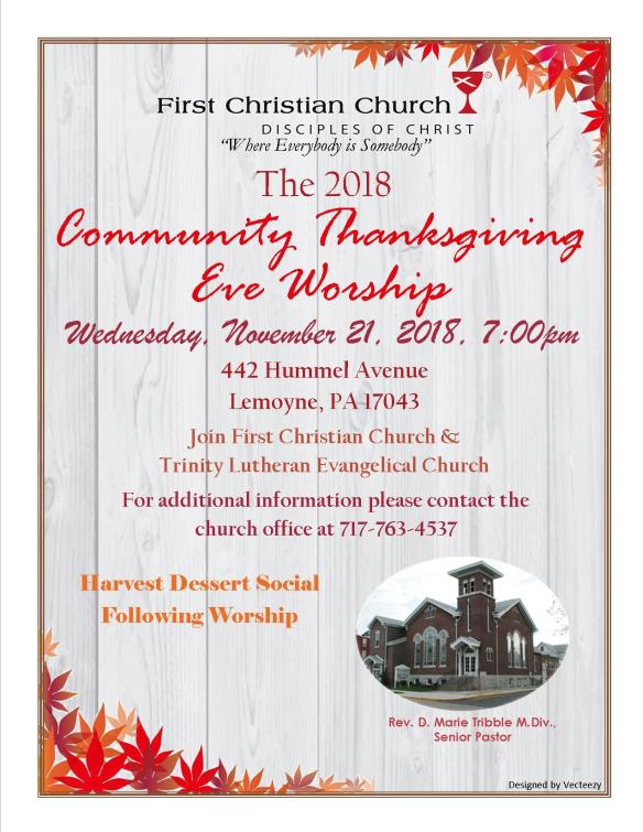 Thanksgiving Eve Service 2018